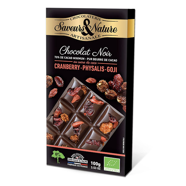 Saveurs & Nature - Tablette chocolat noir 70% cranberries, physalis, goji 100g