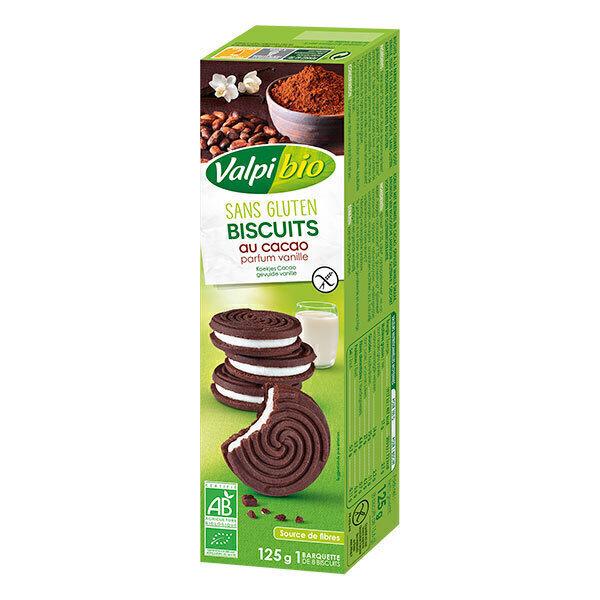 Valpibio - Biscuits cacao fourrés vanille sans gluten 125g