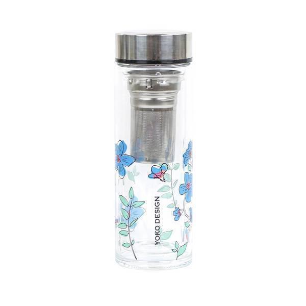 Yoko Design - Théière en verre Garden Par'Tea Fleurs bleues 35cl