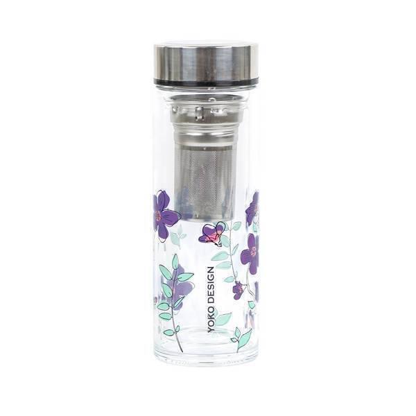 Yoko Design - Théière en verre Garden Par'Tea Fleurs violettes 35cl