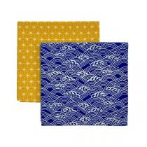 Gaspajoe - Set de 2 Furoshikis XL jaune et bleu 65x65cm