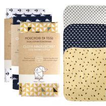 Koshi - Lot de 3 grands mouchoirs en coton assortis 35 x 35cm