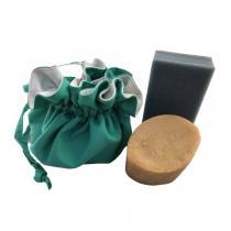Les Mouettes Vertes - Pochette à savon waterproof coton bio Vert