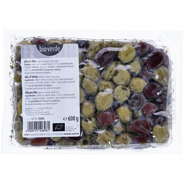 Bio Verde - Mix olives vertes et noires sans noyau 600g