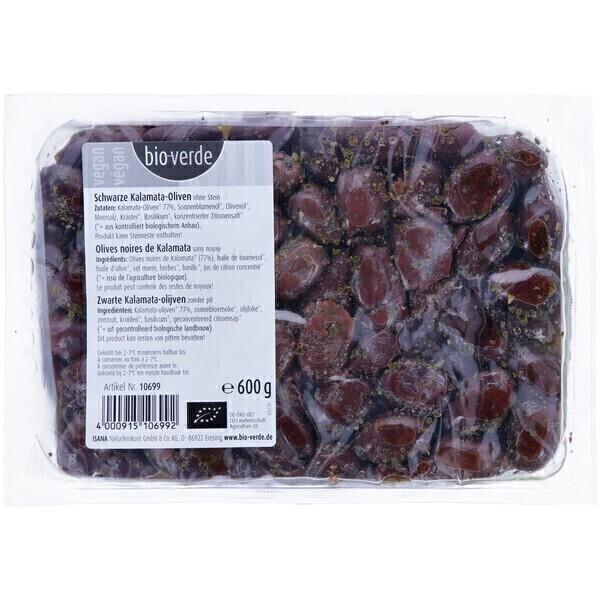 Bio Verde - Olives noires Kalamata sans noyau 600g