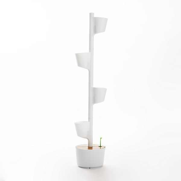 Citysens - Jardin vertical d'intérieur arrosage auto 4 pots Blanc