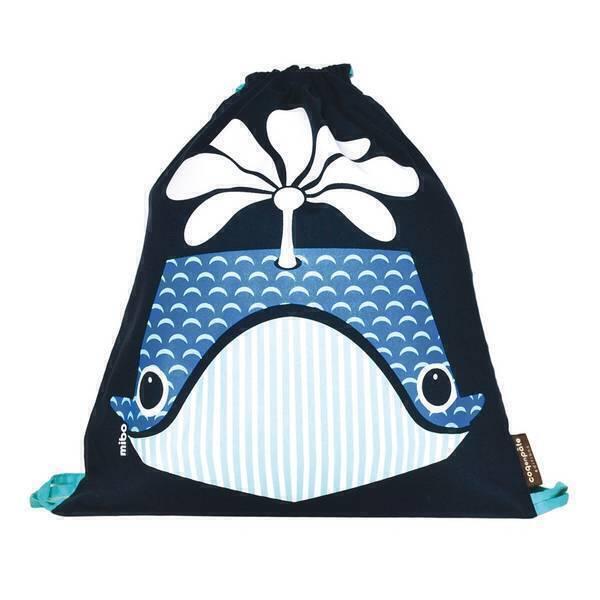 Coq En Pâte - Sac à coulisse coton bio Baleine bleue