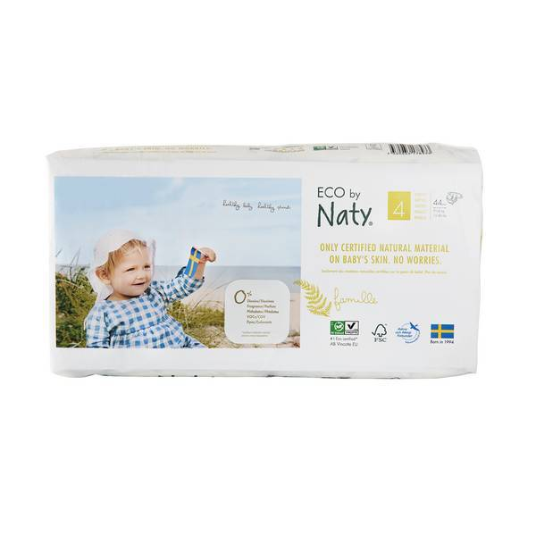 Eco by Naty - 4x44 Couches écologiques - Taille 4, 7-18 kg