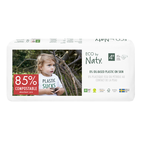 Eco by Naty - Pack 4x42 Couches écologiques - Taille 4+, 9-20 kg