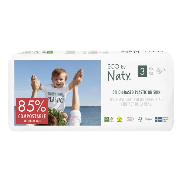 Eco by Naty - Pack 4x50 Couches écologiques - Taille 3, 4-9 kg