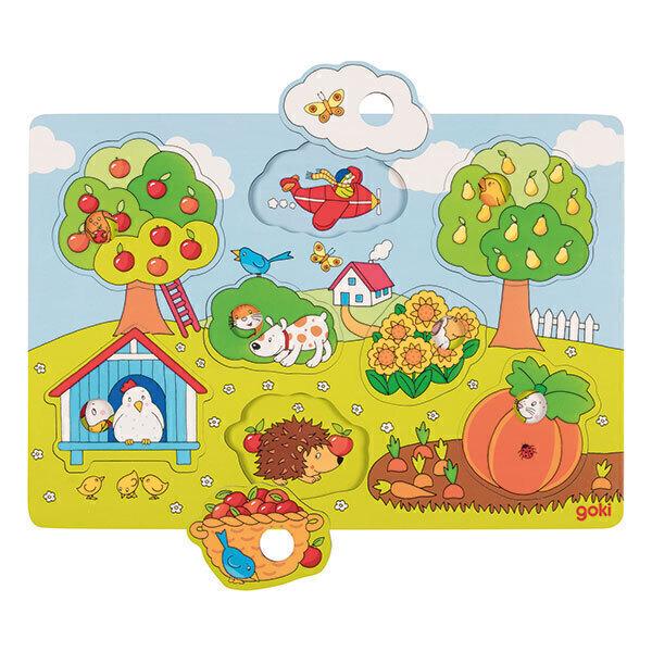 Goki - Puzzle avec images cachées - Dans le jardin - dès 12 mois
