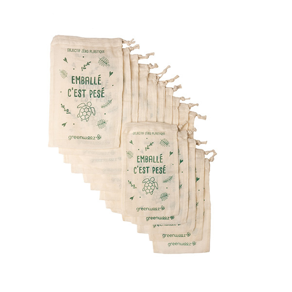 Greenweez - Lot de 15 sacs à vrac coton bio 2 tailles