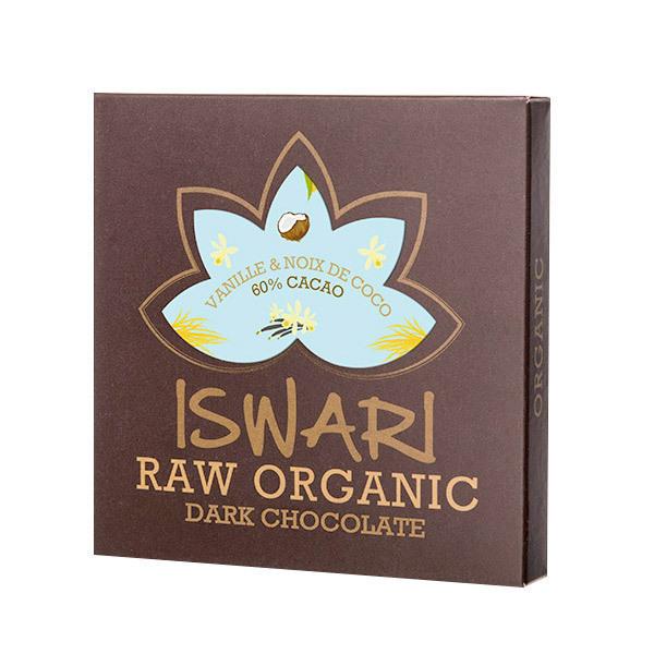 Iswari - Tablette de chocolat cru Vanille & Crème coco 75g