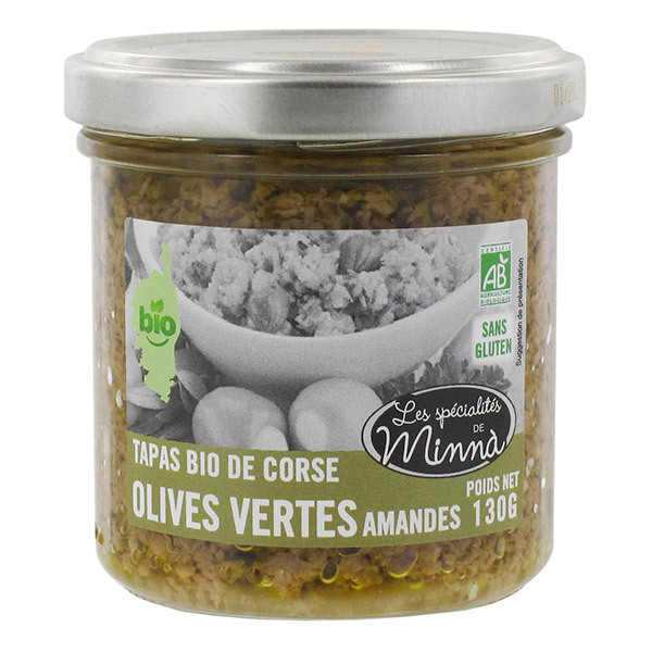 Les spécialités de Minnà - Tapas olives vertes et amandes 130g