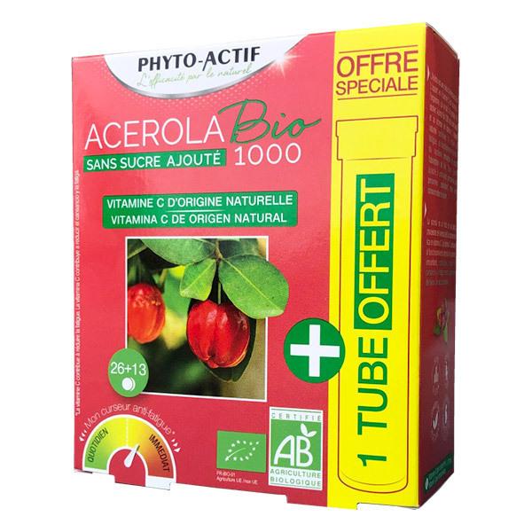 Phyto-Actif - Acérola Bio 1000 sans sucre ajouté + 1 tube offert
