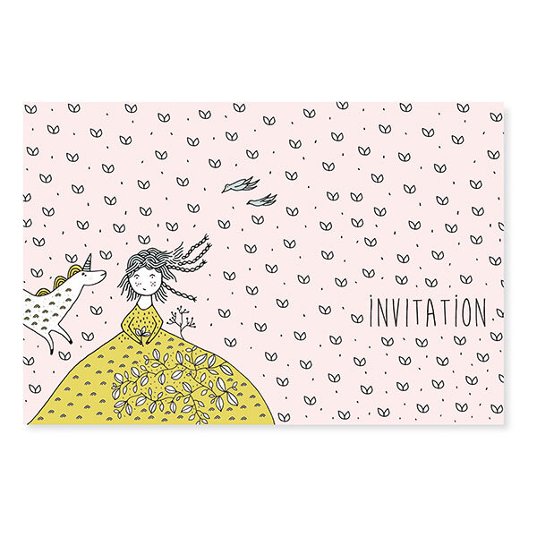 Pirouette cacahouete - 8 Cartes d'invitation Licorne