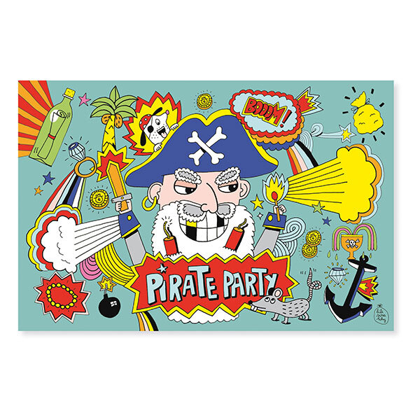 Pirouette cacahouete - 8 Cartes d'invitation Pirate