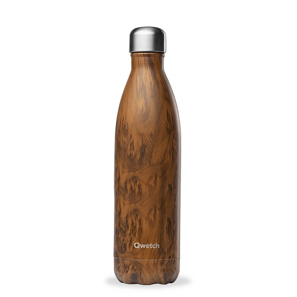 Qwetch - Bouteille isotherme inox Wood 50cl