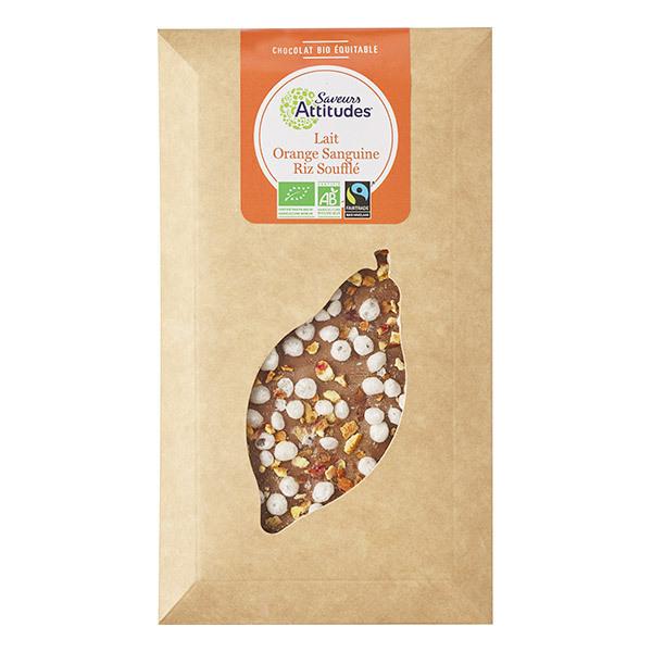 Saveurs Attitudes - Tablette chocolat au lait Orange sanguine et Riz soufflé 100g
