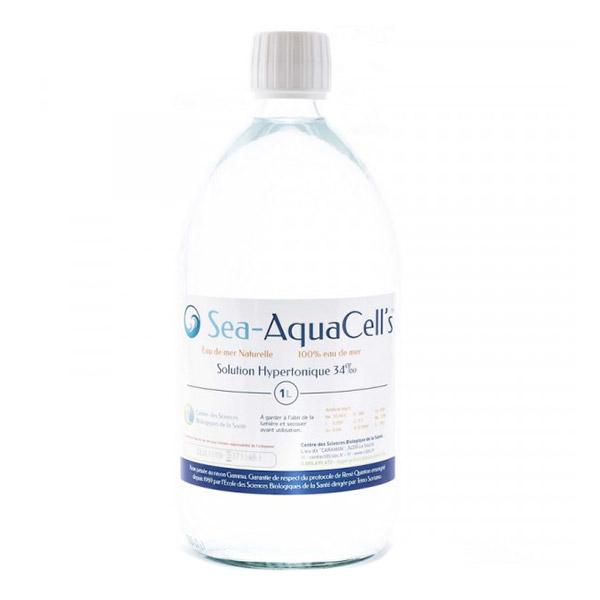 Sea AquaCell's - Cure d'1 mois - Lot de 4 bouteilles d'eau de mer hypertonique