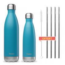 Qwetch - Pack de 2 bouteilles isothermes Turquoise et pailles offertes
