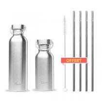 Qwetch - Pack de 2 gourdes simple paroi Inox et pailles offertes