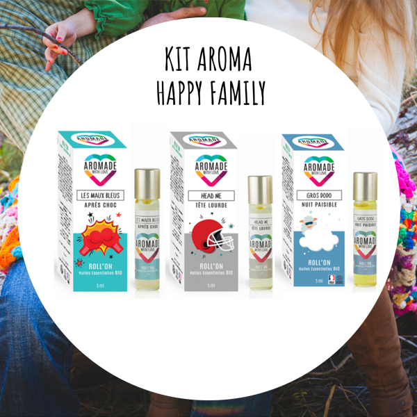 Aromade with love - Kit Happy Family - 3 Roll'on aux huiles essentielles