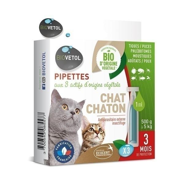 Biovetol - Etui 3 pipettes antiparasitaires chaton et chat Bio 1ml