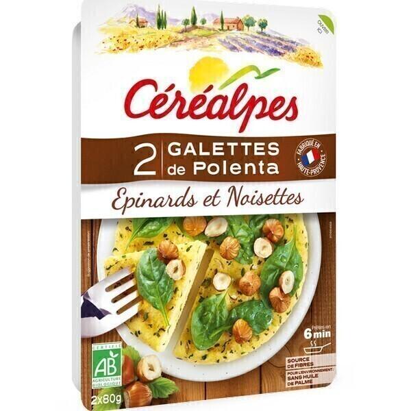 Céréalpes - Galettes de polenta épinard noisette 2x80g