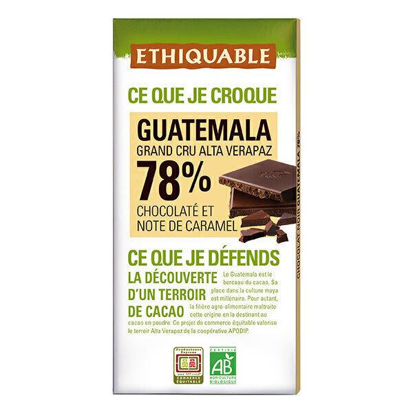 Ethiquable - Chocolat noir 78% cacao Guatemala 100g