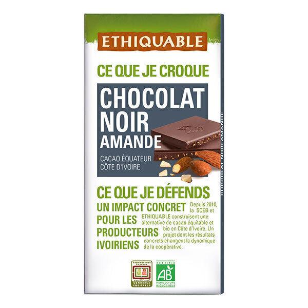 Ethiquable - Chocolat noir amande Equateur/Côte d'Ivoire 100g