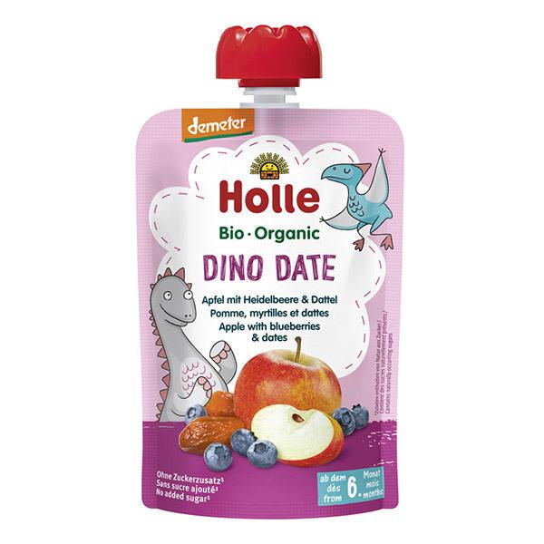 Holle - Dino Date gourde Pomme Myrtille dès 6 mois 100g