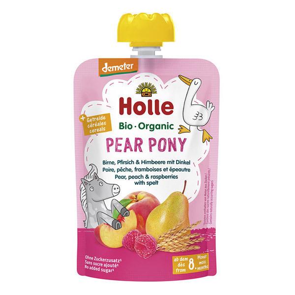 Holle - Pear Pony gourde poire pêche dès 8 mois 100g