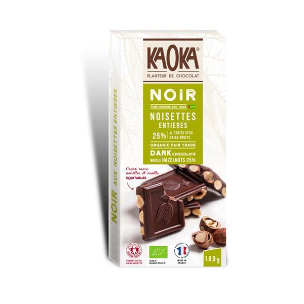 Kaoka - Tablette de chocolat noir noisette 180g