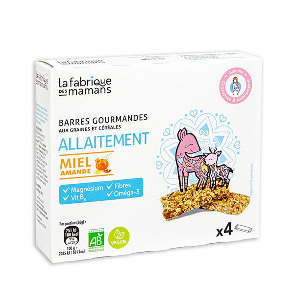 La fabrique des mamans - Barres gourmandes Allaitement Miel amande 4x36g