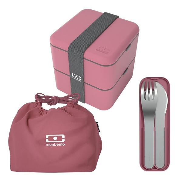 monbento - Pack Bento MB Square Blush, couverts et sac