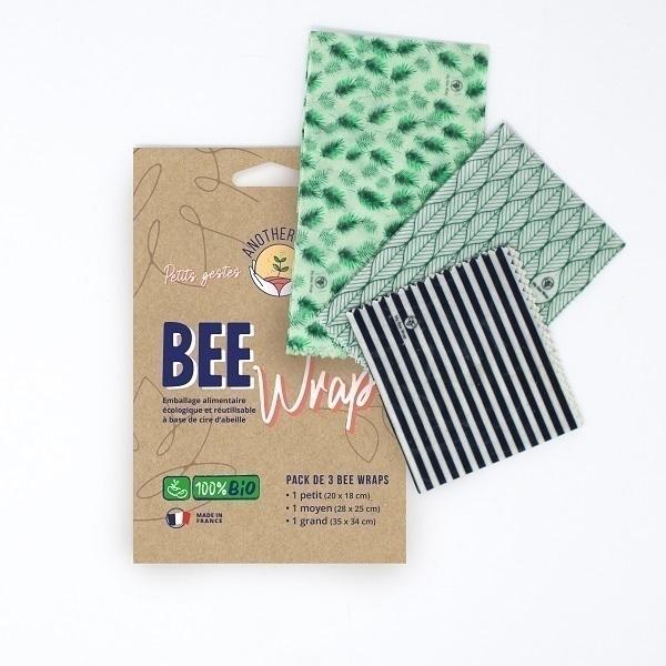 Anotherway - Lot de 3 emballages réutilisables Bio - Végétal
