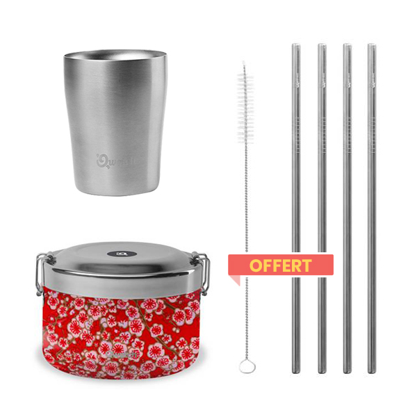 Qwetch - Pack Bento isotherme Flowers, gobelet et pailles offertes