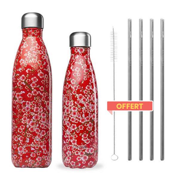 Qwetch - Pack de 2 bouteilles isothermes Flowers et pailles offertes