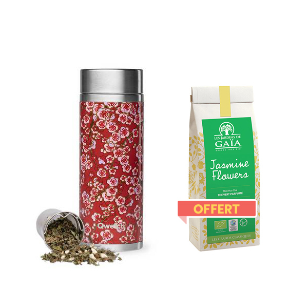 Qwetch - Pack théière isotherme inox Flowers et thé offert