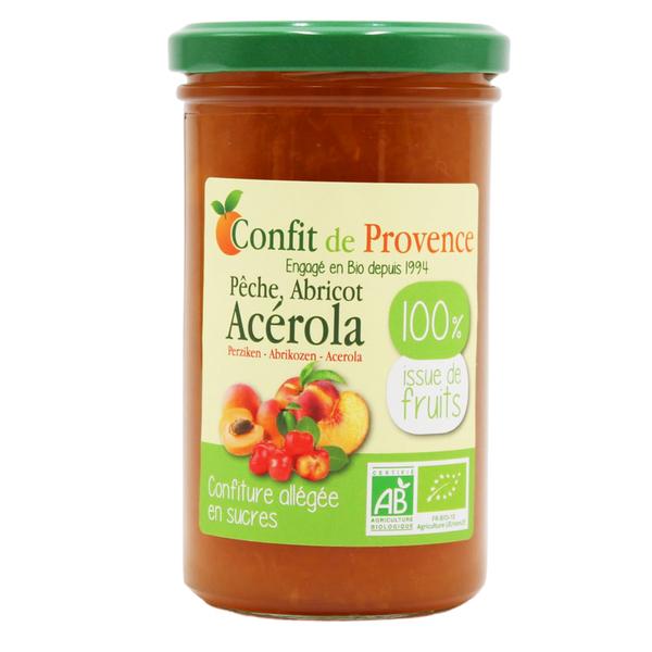 Confit de Provence - Confiture allégée en sucre Pêche Abricot Acérola 370g