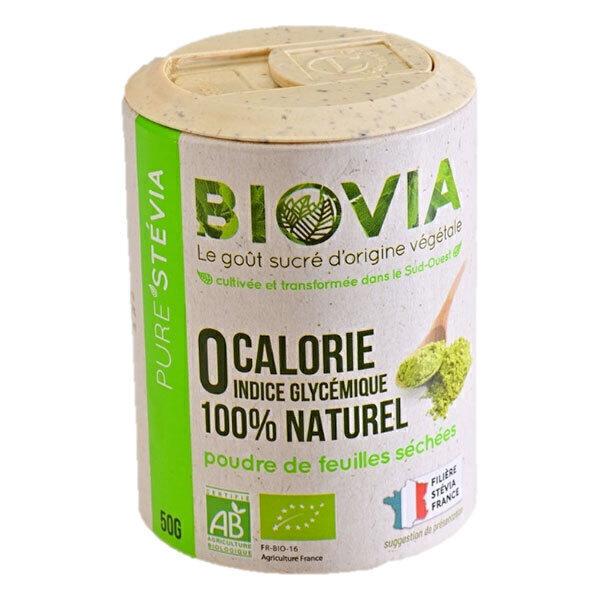 Biovia - Poudre de feuilles séchées de Stévia Bio Française 50g