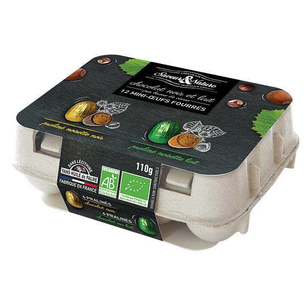 Saveurs & Nature - 12 mini-oeufs au praliné enrobés chocolat noir et lait 110g