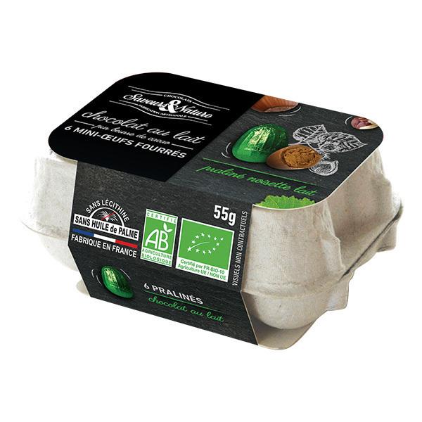 Saveurs & Nature - Boîte 6 mini-oeufs au praliné enrobés chocolat au lait 55g
