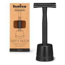 Bambaw - Rasoir de sûreté métal Noir avec socle