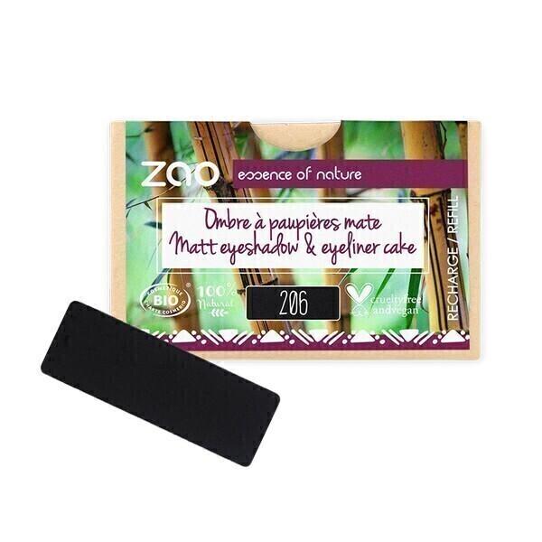 Zao MakeUp - Recharge ombre a paupieres mate 206 Noir/eyeliner cake