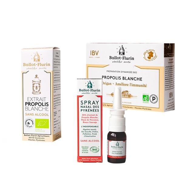 Ballot-Flurin - Lot Propolis Blanche Bio + Spray Nasal + Spray sans alcool