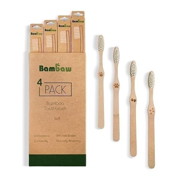 Bambaw - Pack de 4 brosses à dents en bambou Souple