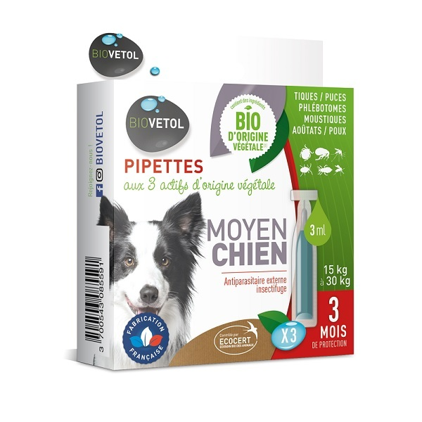 Biovetol - Etui 3 pipettes antiparasitaires chien moyen Bio 3ml