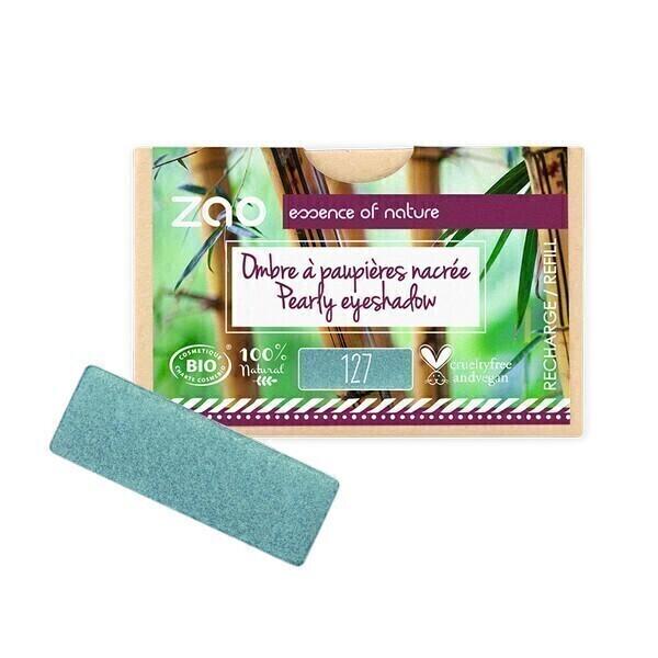 Zao MakeUp - Recharge ombre a paupieres nacree 127 Bleu paon